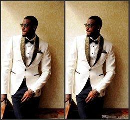 aea822a41d695 2018 Latest Design Ivory Groom Tuxedos Groomsmen Custom Made Shawl Collar  Mens Wedding Suits Bridegroom (Jacket+Pants+Bow Tie+Handkerchief)