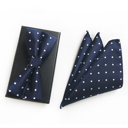 christmas bowties UK - Classic Navy Dot Christmas Gift Wedding Silk Bow Ties with Hanky Set Ties for Men DIY Design Mens Pocket Square Gravata Bowties