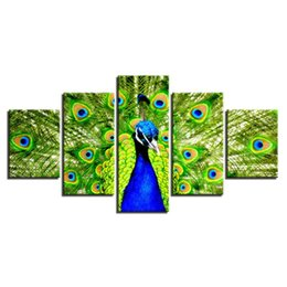 $enCountryForm.capitalKeyWord Australia - 5 Pcs Combinations HD the peacock spreads its tail Framed Canvas Painting Wall Decoration Printed Oil Painting poster