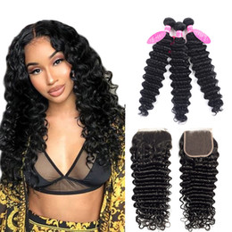 Discount hair jet black 26 inches - Brazilian Deep Wave Bundles With Closure Double Weft Remy Human Hair Weave 3 Bundles With Closure Jet Black