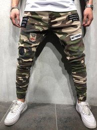 $enCountryForm.capitalKeyWord Australia - Camouflage Skinny Mens Long Stretch Jeans Patches Mens Pencil Pants Fashion Cool Army Green Mens Trousers