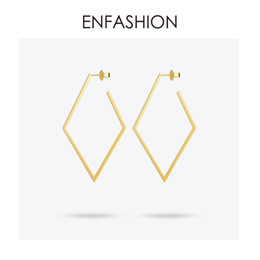 Rhombus Charms Australia - Enfashion Jewelry Geometric Big Rhombus Earrings Gold Color Stainless Steel Long Drop Earrings For Women Earings Eb171035 C19041101