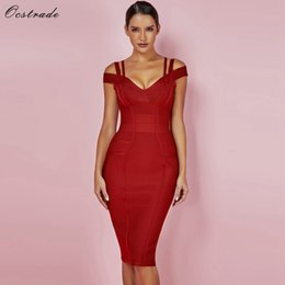 df7d351298 Ocstrade New Women Bodycon Dress 2019 Summer Sexy Bandage Off Shoulder Sexy  High Quality Wine Red Bandage Dress Rayon Plus Size T3190608