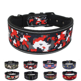 adjustable nylon dog collars Australia - Nylon Dog Collar Soft Foam Padded Collar for Big Dogs Heavy and Duty Adjustable Reflective Pet for Medium and Large Dogs