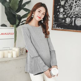 889f4f10463c6 2907# 2019 Spring Fashion Knitted Maternity Shirts + Legging Suits Clothes  for Pregnant Women Sweet Pregnancy Tops Clothing Set