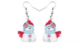 Jewelry teens online shopping - Acrylic Christmas Snowman Decoration Earrings Drop Dangle Ornaments Jewelry For Women Girls Teens Navidad Accessories New