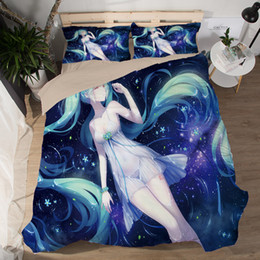 Beautiful Modern Bedding Australia - Japanese Anime Hatsune Miku Bed Bedding sets Sexy Bedsheet 3d Fitted Duvet Covers beautiful girls cartoon queen Quilt cover sets