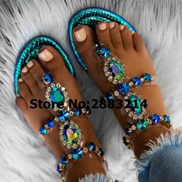 sandals prices UK - Wholesale Price Green Silver Gold Pink Rhinestones Chains Flat Sandals Thong Crystal Flip Flops sandals gladiator sandals 42 43 CX200619