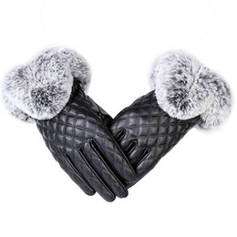 mitten leather UK - Fashion Women Warm Thick Winter Glove Leather Elegant Girls Brand Mittens Rabbit Fur Women's Gloves D19011005