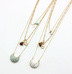 turquoise pendants wholesale Australia - Multilayer Hexagon turquoise Clock Tassels Pendant Short Gold Chain Necklaces Geometric Accessories Jewelry