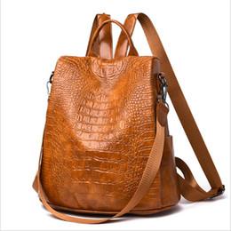 $enCountryForm.capitalKeyWord UK - Fashion Women Leather Backpack 2019 Crocodile Pattern Designer Bags Ladies Travel High Capacity Bags Casual Security Female