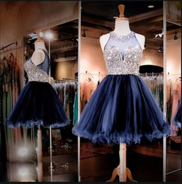 $enCountryForm.capitalKeyWord Australia - Real picture Beading Crystal short prom dress Navy blue Tulle Knee Length petite girls sparkly Ball Gowns prom dresses hot sale