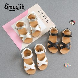 strap muscles Australia - Kids Girls Sandals Children Princess Non-slip Cow Muscle Shoes Toddlers Hook Loop Fastene Fabric High Quality Gladiator Sandals CX200612