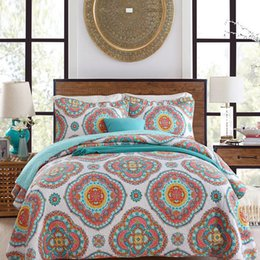 $enCountryForm.capitalKeyWord Australia - Bohemian national style 100%cotton 3pcs floral bedding applique patchwork quilt bedspread full queen size free shipping AN