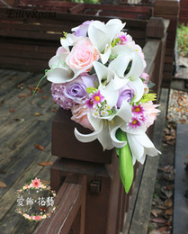 $enCountryForm.capitalKeyWord NZ - Country White Lily Purple Wedding Bouquets Waterfall Artificial Wedding Flowers Bridal Bouquet De Mariee Blanc Rose Roze Bride Bouquets