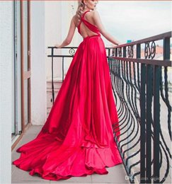 Wholesale silk backless resale online - 2019 New Elegant Backless Silk Photography Long Train Dress Red Bean Evening Dress Bridal Gowns