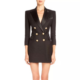Wholesale working dress fashion resale online - Balmain New Women Designer Casual Office Sexy Coat Clothing Plaid Party Work Business Dress Balmain Button