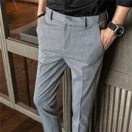 Men Grey Khaki Trousers Australia - Slim design men dress pants gray khaki black mens trousers Asia size 28 29 30 31 32 33 34 36 pant men