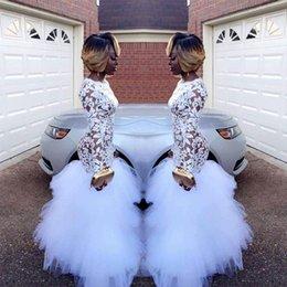 White Tulle Floor Length Girl Dress Australia - 2018 African White Mermaid Lace Prom Dresses for Black Girls Long Sleeves Ruffles Tulle Floor Length Plus Size Evening Prom Gowns Vestidos
