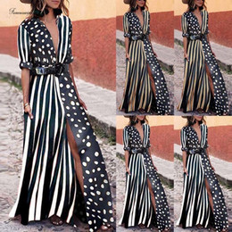 striped maxi dress size Australia - Plus Size Maxi Dress Womens Striped Long New Summer High Split Party Dot Deep V Neck Beach Holiday Sundress 3Xl