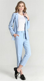 $enCountryForm.capitalKeyWord NZ - Light Blue Women Business Pantsuits Office Uniform Formal Pant Suits for Weddings Ladies Trouser Suit Jacket+Pants Custom Made