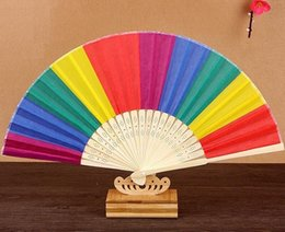fan souvenirs Australia - NEW 100Pcs Arrival Chinese Style Colorful Rainbow Folding Hand Fan Party Favors Wedding Souvenirs Giveaway For Guest
