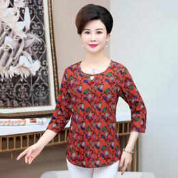 $enCountryForm.capitalKeyWord Australia - Spring Middle Age Women Clothes Korean Mother Half Sleeves Bottom Shirt Printed Large Size Tshirt Round Collar Top Pullover
