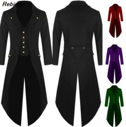 Wholesale victorian steampunk costume online – ideas Adult Men Victorian Costume Black Tuxedo Fashion Tailcoat Gothic Steampunk Trench Coat Frock Outfit Overcoat Uniform For Men