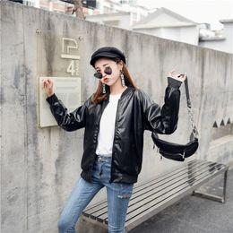 Korean Motorcycle Jacket Australia - 2019 new Korean version of the fashion designer pu leather locomotive loose leather jacket girl motorcycle jacket