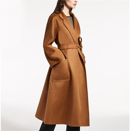 long formal suit jacket for women Canada - Suit Wave Cashmere Caramel Color Two-sided Fund Ma'am High Archives Overcoat winter jackets for women SWEATER Free shipping Wool coats woman