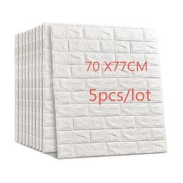 China 77x70cm 5pcs 3d Brick Wall Stickers Diy Self Adhensive Decor Foam Waterproof Wall Covering Wallpaper Background Kids Living Room Q190416 cheap wallpaper pieces suppliers