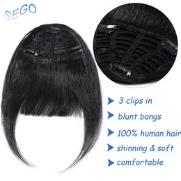 $enCountryForm.capitalKeyWord Australia - SEGO Straight 3 Clip-in Human Blunt Bangs Sweeping Side Bangs Front Hair Fringes 100% Human Hair 1 Piece Only Black Brown Blond