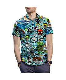 Discount 3d shirt man black - Wholesale Customized Clothing button up shirts men shirt 2019 summer animation cartoon 3D printing shirt mens