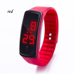 $enCountryForm.capitalKeyWord Australia - Hot New Sports Rectangle Led Digital Display Best Touch Screen Watches Rubber Belt Silicone Bracelets Wrist Watches