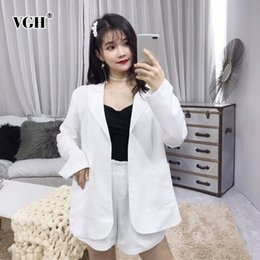 Womens Beige Casual Suit Australia - VGH Spring Casual Women Two Piece Set V Neck Long Sleeve Pockets Loose Oversized Elastic Waist Womens Suit Fashion New Korean