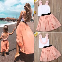 $enCountryForm.capitalKeyWord Australia - Mother Daughter T-shirt + Tutu dresses backless Clothes Matching Outfits Family Look baby dress mommy and me Maxi Vestidos