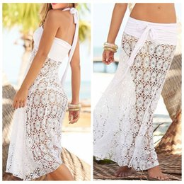Black Mesh Kimono NZ - Mesh Swimsuit Cover Up Women Hollowing Sexy Summer Beach Shirt White black Sarong Top Skirt Sleeveless Kaftan Dress Dubai Long J190623