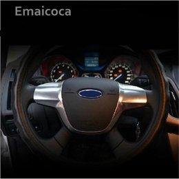 Focus Mk3 Australia - Emaicoca 1pc ABS Chrome trim steering wheel paillette cover sticker case for Focus 3 mk3 2012-2014 auto accessories