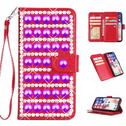 Luxury Credit Card Iphone Australia - Luxury 3D purple pearl rhinestone case for iphone 6 6s 7 8 plus x xr xs max with 9 credit card slot wallet leather ladies