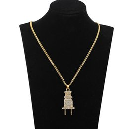 $enCountryForm.capitalKeyWord Australia - Lassic Plug pendant gold plated Iced Out Men's Plug Pendant Necklace Plated Charm Micro Pave Full Rhinestone Cuban Chain men jewerly 2Colors