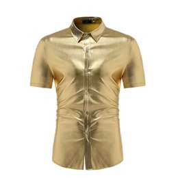 mens gold black shirts hip hop 2021 - Shiny Gold Coated Metallic Shirt Men 2019 Fashion Mens DJ Nightclub Shirts Slim Fit Chemise Homme Hip Hop Streetwear Men Shirt