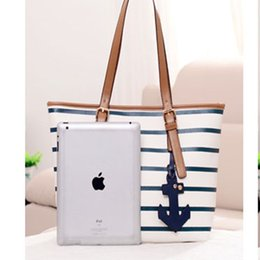 anchor bags zipper NZ - 2019 New Design British Tape Navy Style Women Handbags Anchor Large Casual Tote Bags for Girls Shoulder Leisure Shopping Bag