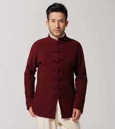 46578ef41 Burgundy Chinese Men Cotton Kung Fu Jacket Spring Autumn Coat National Tang  Suit Top hombre chaqueta M L XL XXL XXXL MN33
