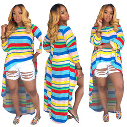 High Fashion Maxi Dresses Australia - 2019 new women colorful stripes o-neck long sleeve high low maxi tee top casual long dress fashion vestidos dresses
