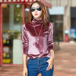 Venta al por mayor de Venta al por mayor cuello alto camiseta mujeres camisetas moda manga larga camiseta mujeres tops poleras de mujer moda 2019 camiseta