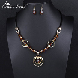 crazy earrings 2019 - Crazy Feng Luxury Acrylic Beaded Round Pendant Necklaces Drop Earrings Jewelry Set For Women Vintage Dubai Costume Jewer