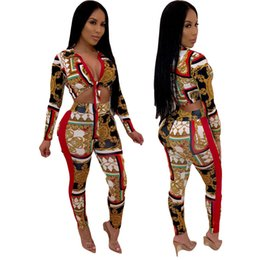 womens 2 piece sets Autumn new Sexy fashion digital print long sleeve top & high waist skiny pants two sets 2XL plus size two piece sets NB-