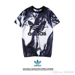 73577997 Adidas лето взрыв черно-белые чернила Письмо печати футболка мода  прохладный личность дышащий морщин S-XXL Бесплатная доставка