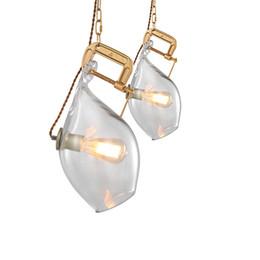 $enCountryForm.capitalKeyWord Australia - Modern Wine Bottle Glass gold Pendant Light Gold Metal Suspension lamp For Parlor Bar Clothing Store Home lighting AL309