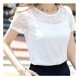 $enCountryForm.capitalKeyWord NZ - Women Summer White Lace Blouse Short Sleeve Plus Size Korean Crochet Round Neck Hollow Out Tops Shirt Camisas Femininas Qz*